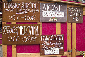 Food and Drink Signs at a Prague Christmas Market
