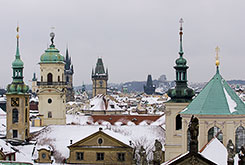 Prague Spires and Snow